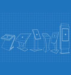 blueprint of six promotional interactive kiosk vector image