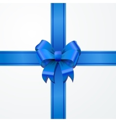 Bright blue bow-knot with tape on white vector
