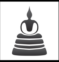 Buddha silhouette on white background vector