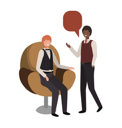 business men with speech bubble avatar character vector image