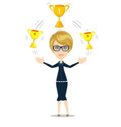 Cartoon businesswoman holding trophy vector