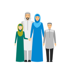 cartoon characters people arabian national family vector image