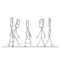 cartoon people walking on street vector image