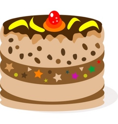 celebratory chocolate cake with bananas vector image