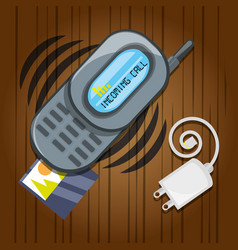 Cellphone with power cable and picture vector