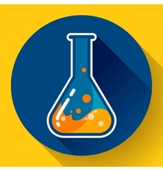 Chemical lab flask with liquid icon Flat design vector image