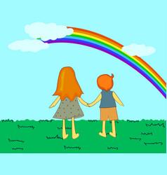 Children looking at rainbow vector