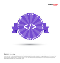 code icon - purple ribbon banner vector image