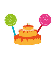 Color silhouette with birthday cake and candles vector