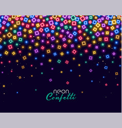 Colorful confetti in neon shiny lights background vector