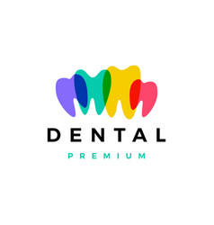 colorful dental tooth teeth logo icon vector image