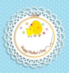 Cute chick and chicken on embroidery hoop for vector image