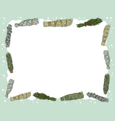 Cute cozy banner with sage smudge sticks elements vector