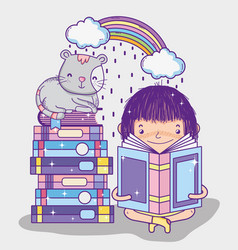 Cute girl with books vector
