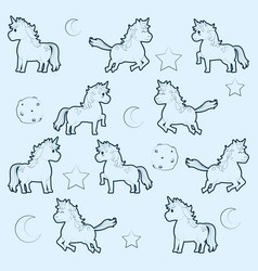 Cute unicorns pattern background vector