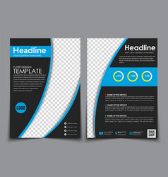 Design flyers black with blue elements for vector