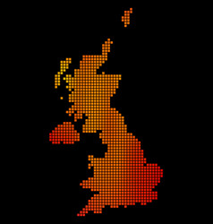 Dotted fire united kingdom map vector