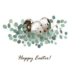 easter card with quail eggs vector image