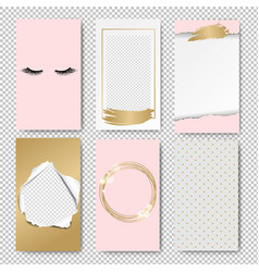 editable stories pink template isolated vector image