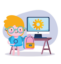 Education online student boy with backpack and vector