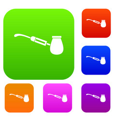 Electronic cigarette with nozzle set collection vector