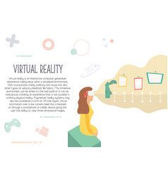 excited girl in virtual reality visiting museum vector image