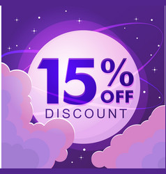 fifteen percent discount numbers against the night vector image