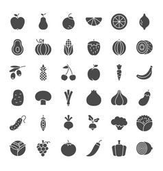 Fruit vegetable solid web icons vector