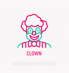 funny clown for kids party thin line icon vector image