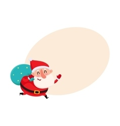Funny Santa Claus running with bag of Christmas vector