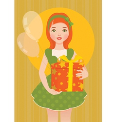 Girl with a gift for his birthday vector image