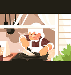 grandma in kitchen cooking dinner vector image