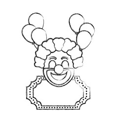 Grunge clown circus entertainment with decoration vector
