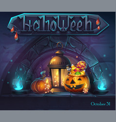 Halloween background - cartoon stylized vector