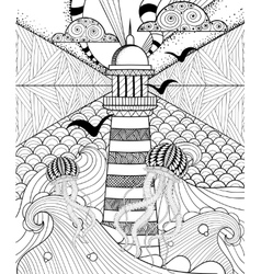 Hand drawn adult coloring page artistically Sea vector