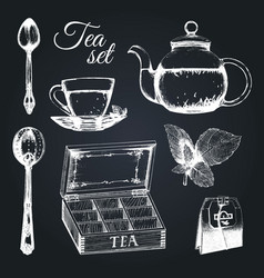 Hand drawn tea set vector