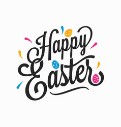 happy easter vintage sign with eggs on white vector image