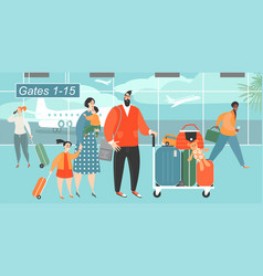 happy family traveling with two children vector image