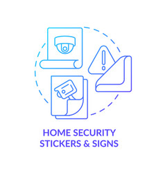 Home security stickers and signs blue gradient vector