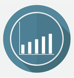 Icon business graph on white circle with a long vector