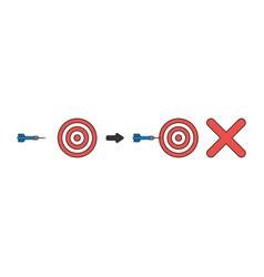 Icon concept bulls eye and dart miss target vector