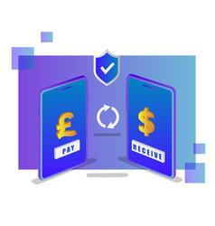 isometric design online currency exchange concept vector image