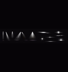 light beams from spotlights and flashes vector image