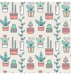 line houseplants icons seamless pattern vector image