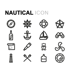 Line nautical icons set vector