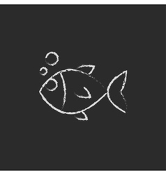 Little fish under water icon drawn in chalk vector image