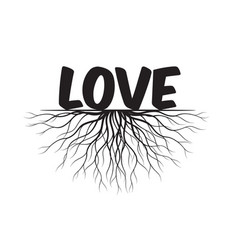 love text and idea concept with leaves and roots vector image