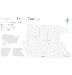 Map dallas county in arkansas vector