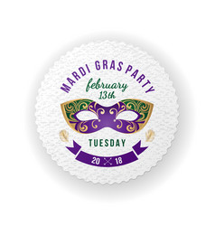 Mardi gras party emblem with carnival mask vector