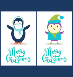 merry christmas penguin bird vector image